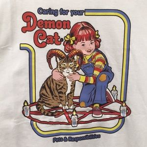 """Caring for your demon cat"" cute cotton tee NEW"